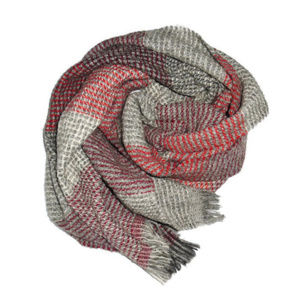J Crew Scarf Alpaca Wool Gray Red Soft Italy